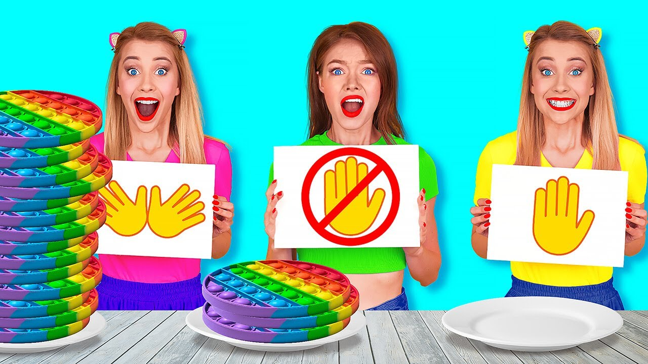 Download NO HANDS VS ONE HAND VS TWO HANDS EATING CHALLENGE || Pop it! Funny Situations by 123 GO! FOOD