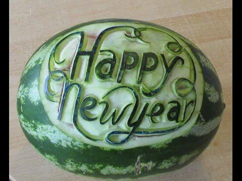 Carving Art Melone Happy New Year Lesson 232- -Cách tỉa dưa chúc mừng năm mới .