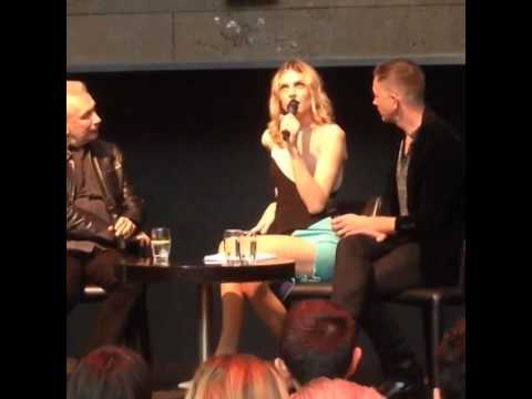 Andreja Pejic speaking at the launch of Jean Paul Gaultier's fashion exhibition in Melbourne