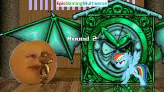 Tedi The Robotic Teddy Bear And Annoying Orange VS Creepy Clock And Rainbow Dash In A MUGEN Match