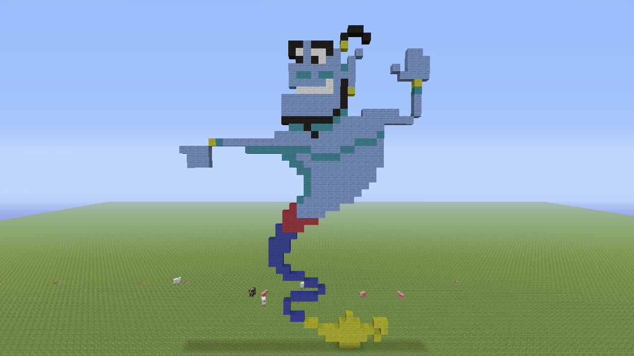 Minecraft Pixel Art Genie From Aladdin Youtube