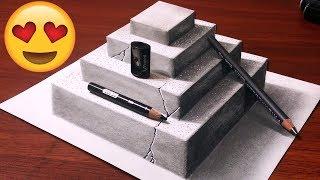 INCRÍVEL Como Desenhar uma PIRÂMIDE 3D 😲 How to Draw a 3D Concrete Pyramid Optical Illusion