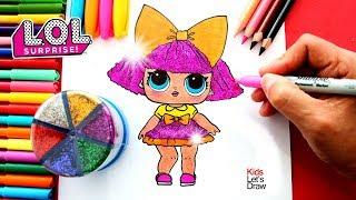 Cómo dibujar una Muñeca L.O.L. Surprise: GLITTER QUEEN | KidsLetsDraw