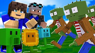 PLANTS vs ZOMBIES EM DUPLA NO MINECRAFT !! 😱 *VIRAMOS ZUMBIS?* 😵