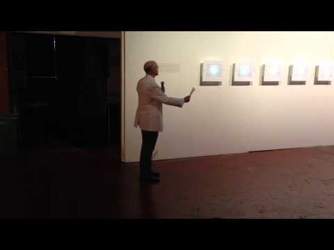 Owen Brown speaking at the Ideasthesia exhibit reception