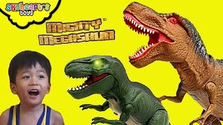 DINOSAUR TOYS - Angry Mighty Megasaur toys on a rampage in our room! T-Rex, Velociraptor