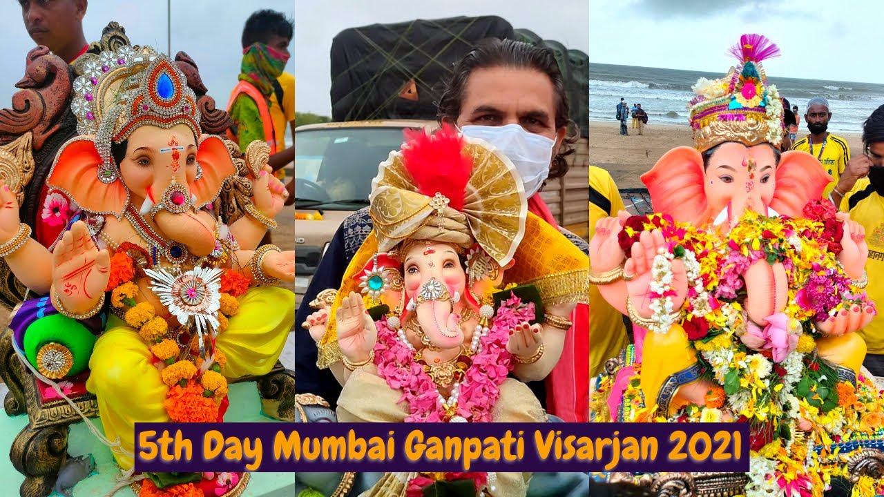 Mumbai Ganpati Visarjan 2021 At Juhu Chowpatty - 5th Day Ganpati Visarjan - Mumbai Cha Ganpati