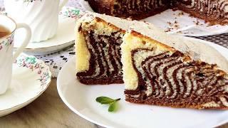 Полосатый Пирог к Чаю * Зебра*! Вкусно и красиво!*Striped Cake for Tea * Zebra*! Tasty and beautiful