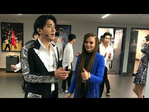 180428 Super Junior With leslie Grace at Backstage