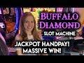 AWESOME JACKPOT HANDPAY ON BUFFALO DIAMOND SLOT MACHINE!! MONSTER BONUS WIN!!