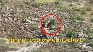 กู้ภัยช่วยหมาจมโคลนในบ่อดินลึก 10 เมตร สุดทุลักทุเล หลังหมากลัวหนีวนรอบบ่อ
