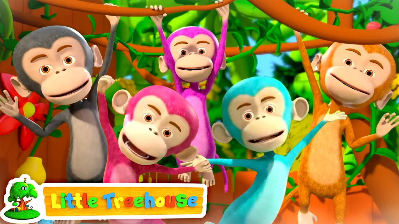 Five Little Monkeys | Nursery Rhymes & Songs | Baby Cartoon | Children's Music - Little Treehouse