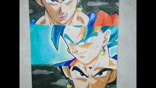 Drawing | Goku, Vegeta and Vegito | Dragon ball super - Split Drawing