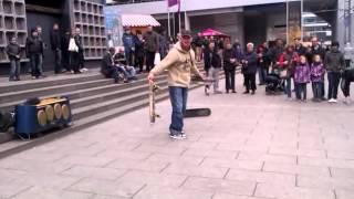 old man does skateboard tricks