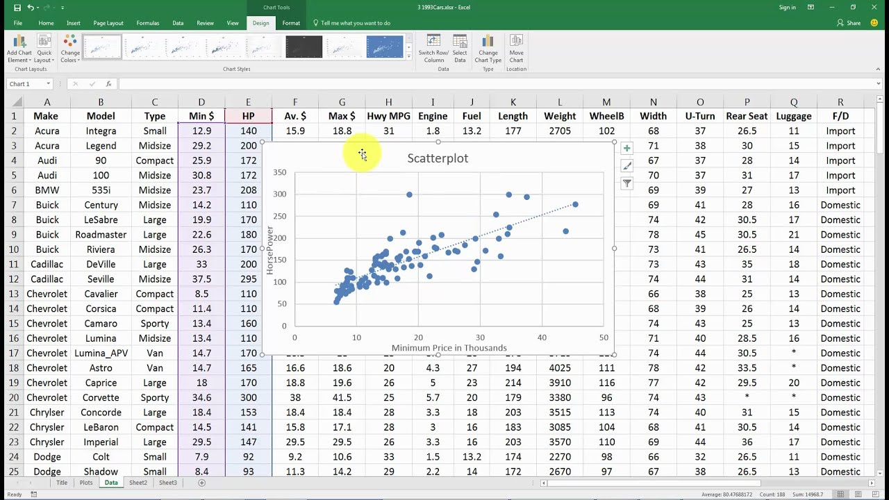 making scatter plots  trendlines in excel 2016
