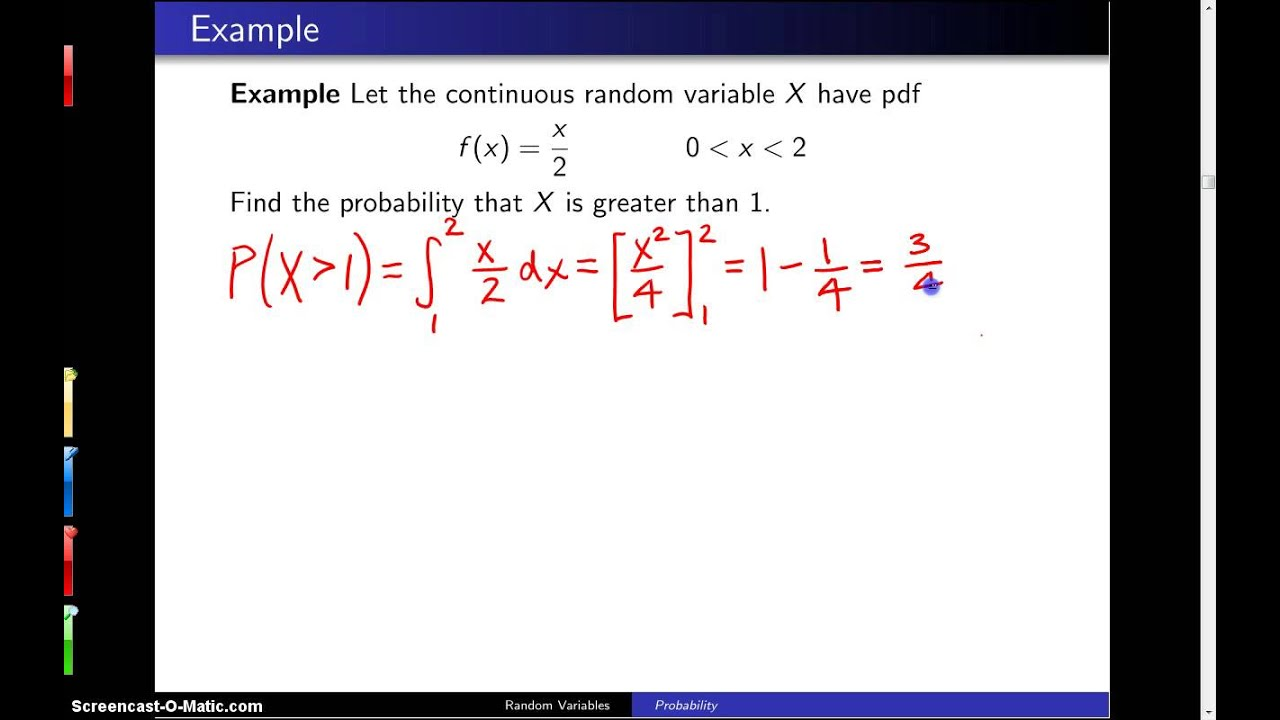 Continuous Random Variables Example 1 Youtube