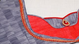 Patch work saree blouse cutting and Stitching