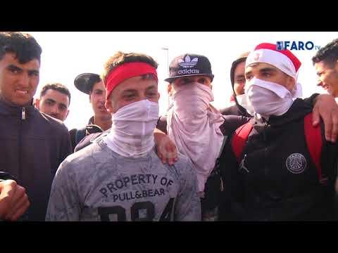 Al menos 40 detenidos en una batalla campal entre inmigrantes en Ceuta