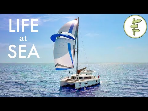 Couple Living on a Sailboat & Running a Small Business While Off the Grid + Catamaran Tour