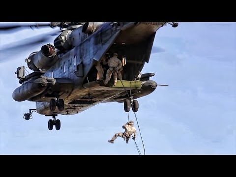 Recon Marines Fast Rope From CH-53E At Camp Lejeune