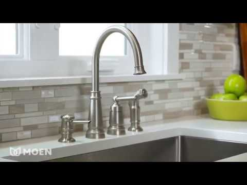 Edison One Handle High Arc Kitchen Faucet Youtube