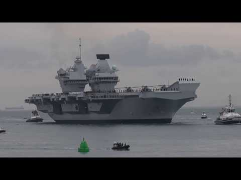 HMS Queen Elizabeth arrives in Portsmouth (Video 3)