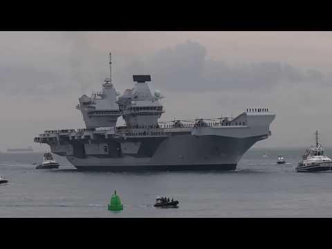 HMS Queen Elizabeth arrives in Portsmouth (Video 3)