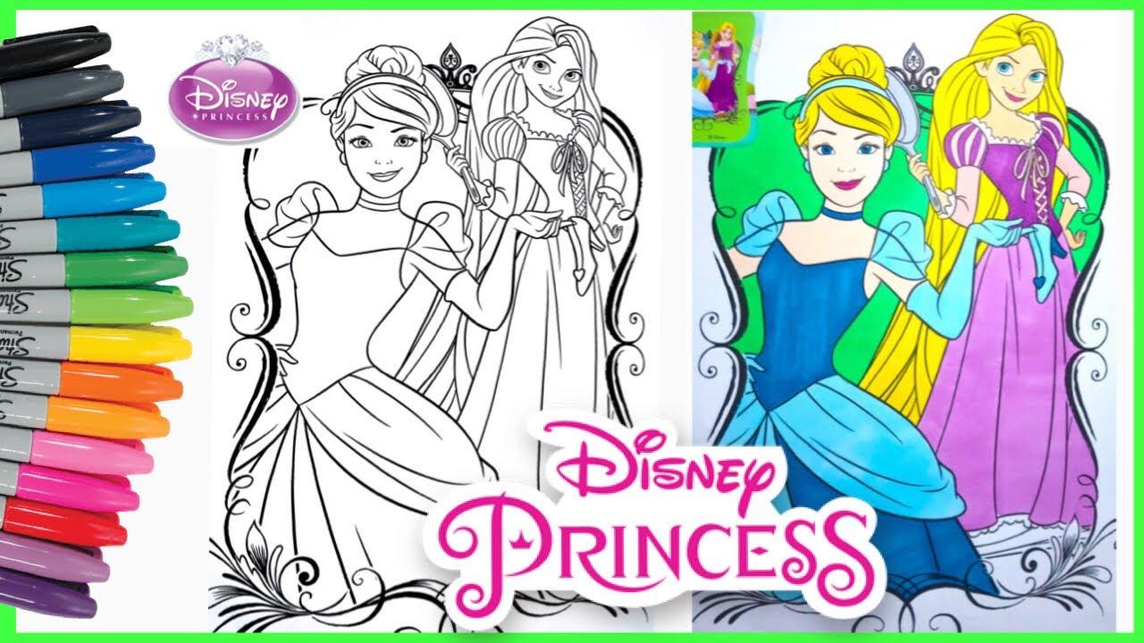 Mewarnai Gambar Putri Cinderella Rapunzel Disney Princess Coloring Book Pages