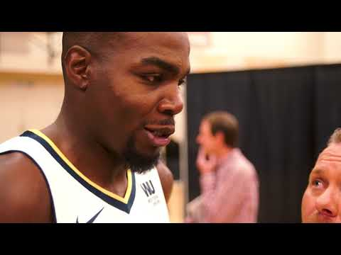 Paul Millsap with Chad Andrus - Denver Nuggets Media Day 2017