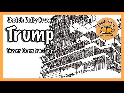 Trump Tower New York drawing construction TIMELAPSE with Sketch Daily!