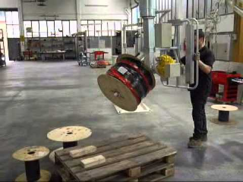 Lifting and turning a large cable drum