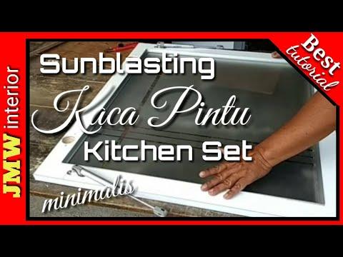 Sunblasting Kaca pintu Kitchen set minimalis