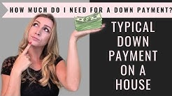 How much do I need for a down payment? Typical down payment on a house