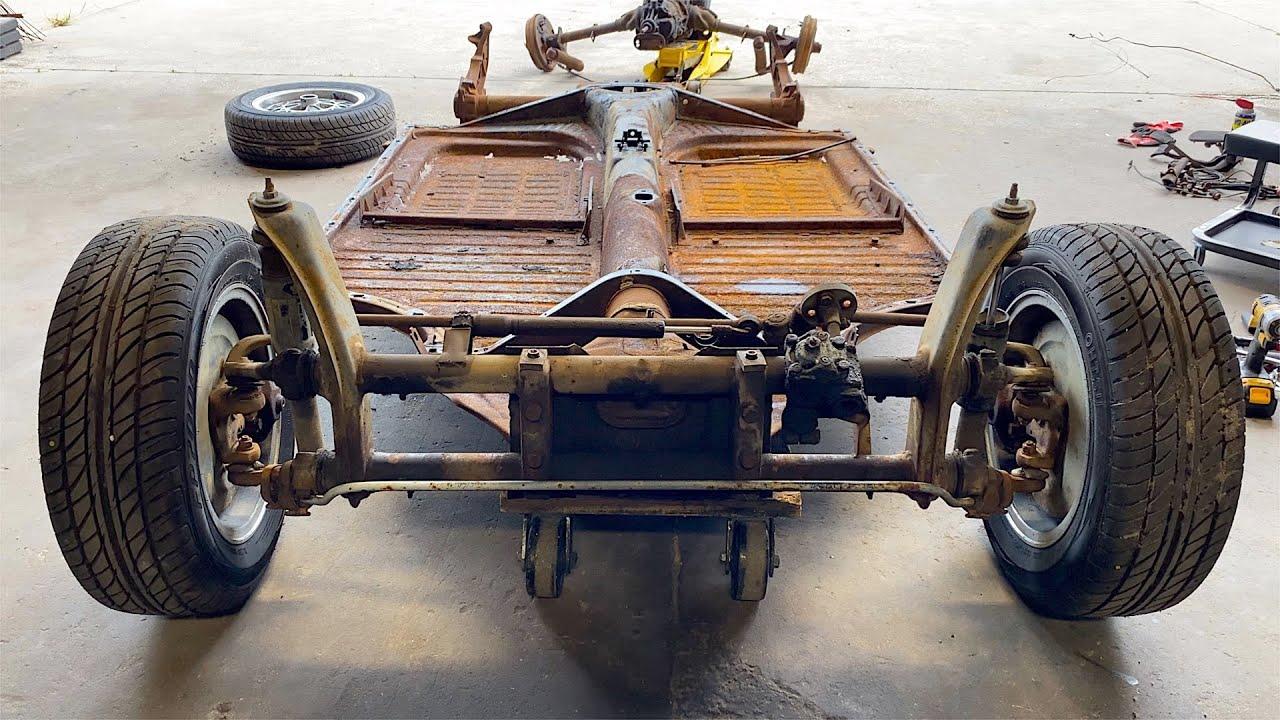 VW Karmann Ghia Restoration - Transmission & Axle beam removed Day 4