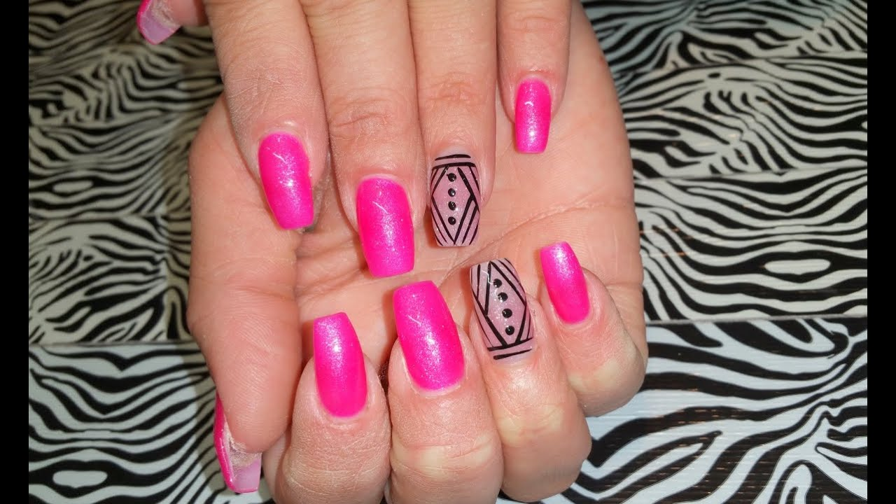 acrylic nails infill l barbie pink