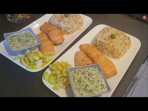 saumon-à-la-crème-aux-épinards-et-riz-turc-اسمك-السلمون-بالكريمةو-السبانخ-مع-الارز-التركي-الشهير
