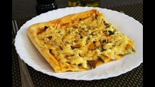 Вкуснейшая Пицца на Тонком Тесте с Говядиной, Соленым Огурцом и Маринованным Луком! Тесто на Кефире
