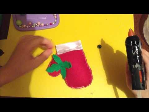 Видео Новогодняя варежка из фетра  Своими руками ёлочная игрушка