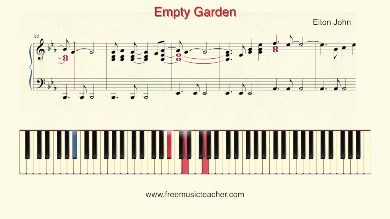 How To Play Piano Elton John Empty Garden Piano