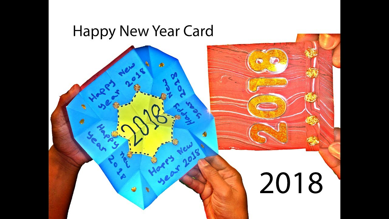 very easy how to make new year magical card 2018 new year card 2018
