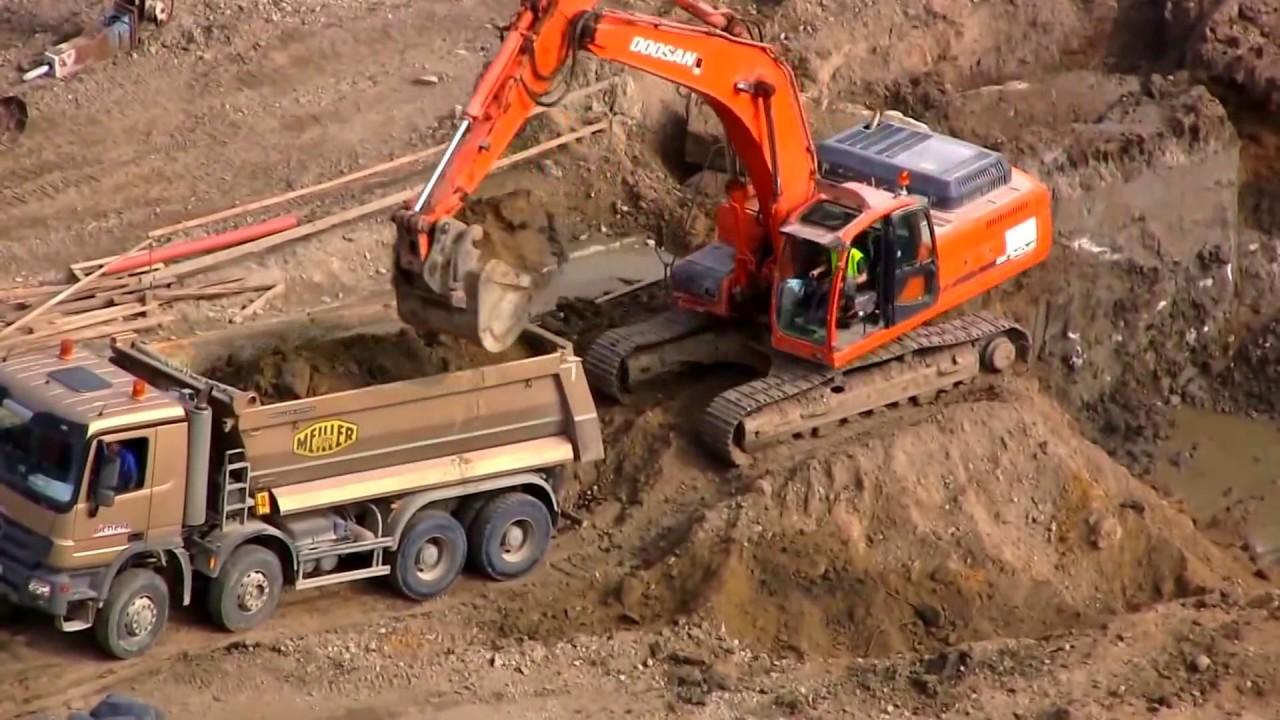 Máy xúc, xe tải và máy móc nặng. Excavators. - YouTube