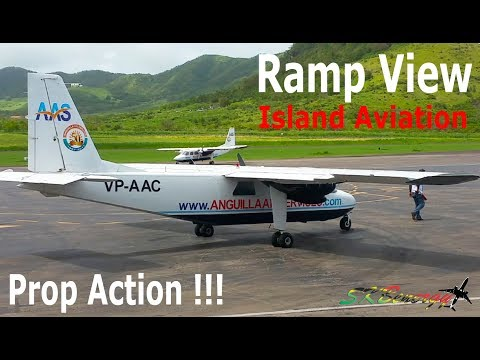 Ramp View Prop Action !!! Anguilla Air Service -Trans Anguilla Airways BN-2 Islander's.. @ St. Kitts