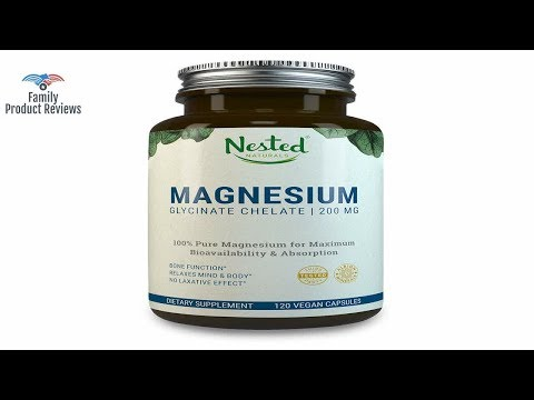 MAGNESIUM GLYCINATE CHELATE 200mg  120 Non-Laxative High Absorption Vegan Capsules  Bioavailable