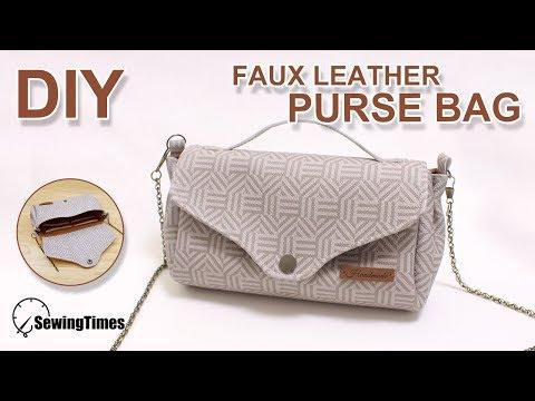 DIY Faux leather Purse bag   인조가죽 체인 크로스백   To make Chain cross body bag(free pattern) #sewingtimes