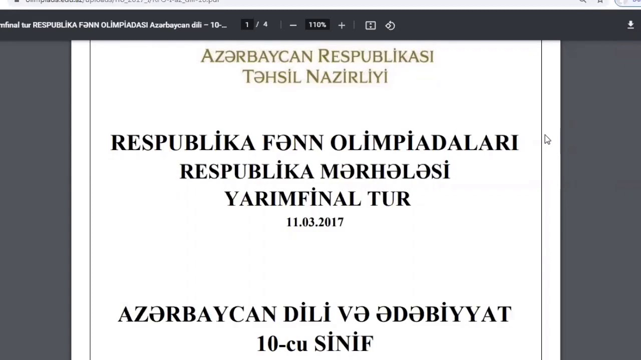 Azərbaycan dili (Yarımfinal olimpiada) X sinif - 2017