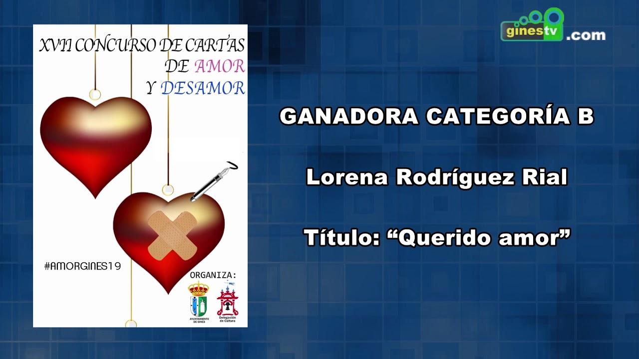 Concurso de Cartas de Amor y Desamor de Gines 2019 - Ganadora categoría B