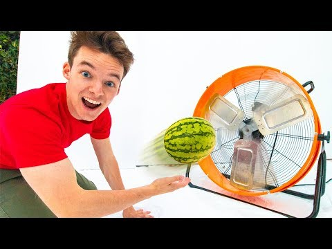 THROWING FRUIT INTO A GIANT FAN!! (Super Satisfying)