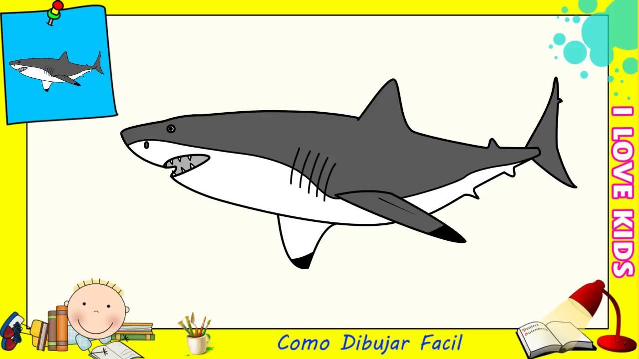 Como Dibujar Un Tiburon Facil Paso A Paso Para Niños Y Principiantes 8