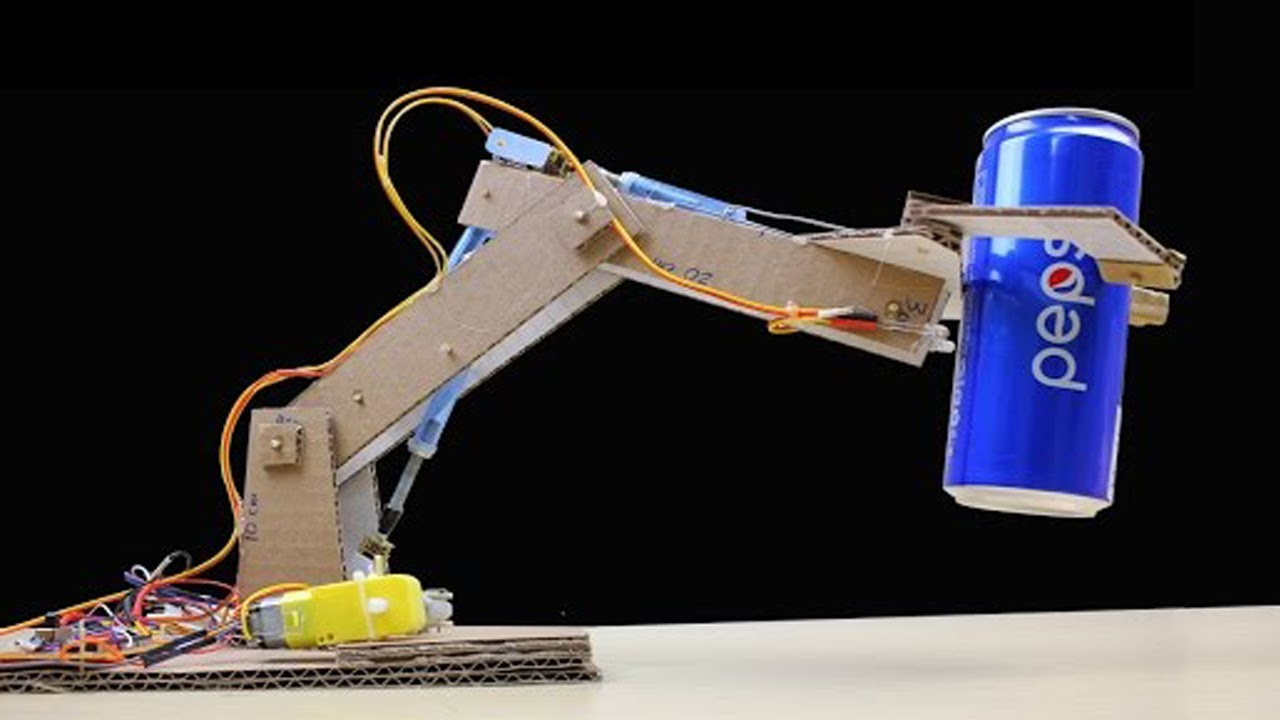 Small Hydraulic Robot Arm : Make rc robotic arm from cardboard and dc motor simple