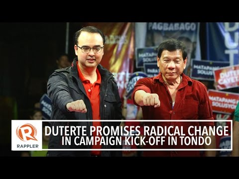 Duterte promises radical change in campaign kick-off in Tondo